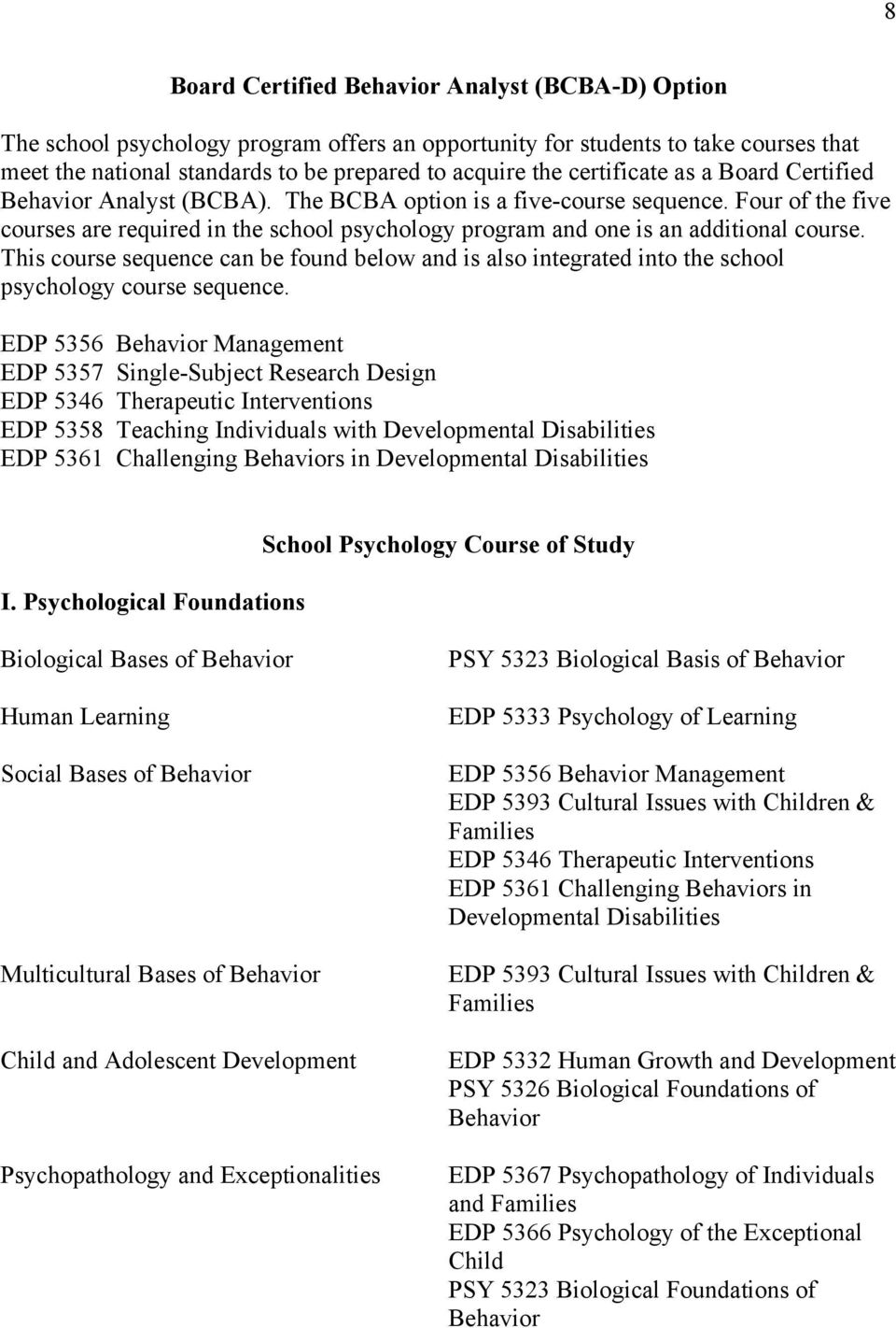 Four of the five courses are required in the school psychology program and one is an additional course.