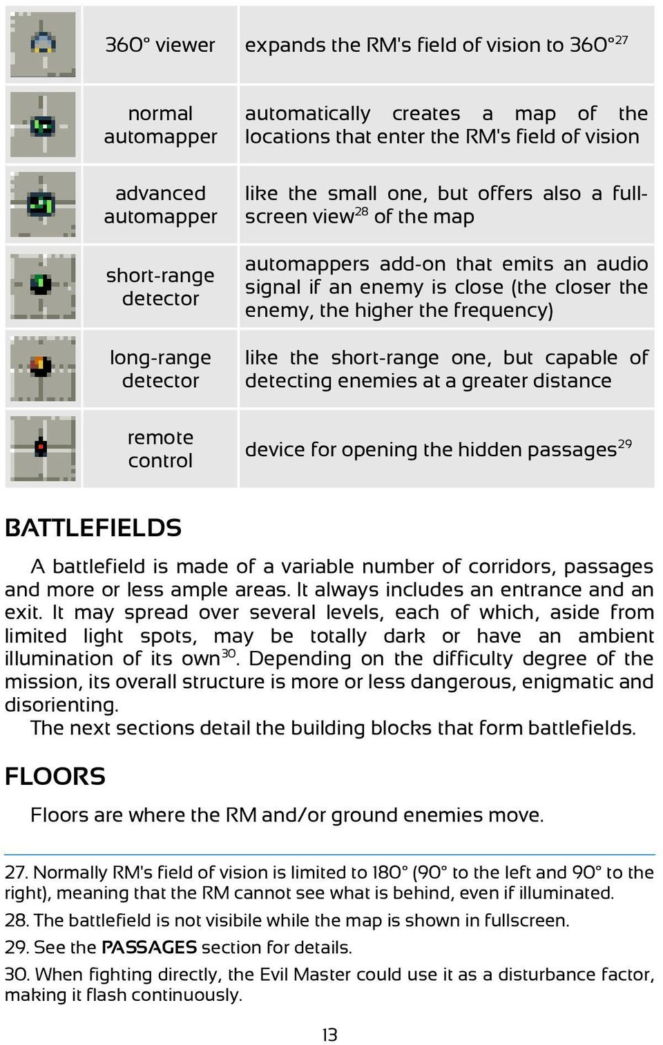 like the short-range one, but capable of detecting enemies at a greater distance remote control device for opening the hidden passages 29 BATTLEFIELDS A battlefield is made of a variable number of