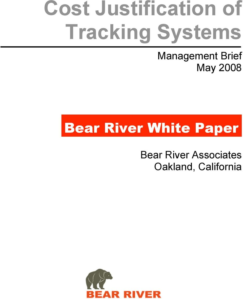 2008 Bear River White Paper Bear