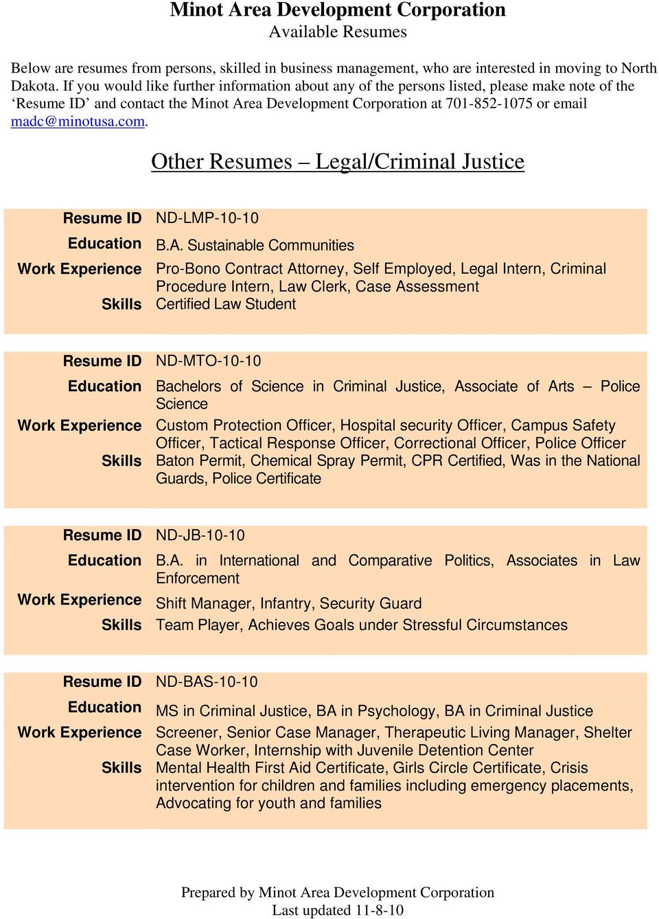 Other Resumes Legal/Criminal Justice Resume ID ND-LMP-10-10 Education B.A.
