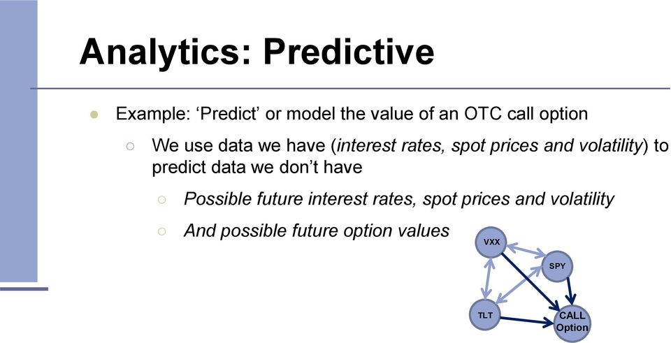 to predict data we don t have Possible future interest rates, spot