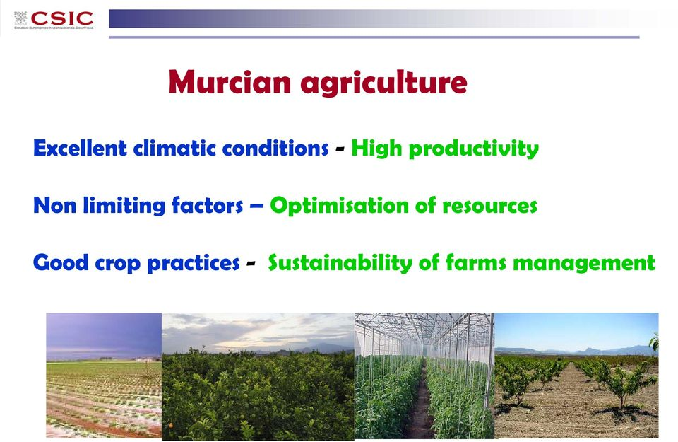 factors Optimisation of resources Good crop