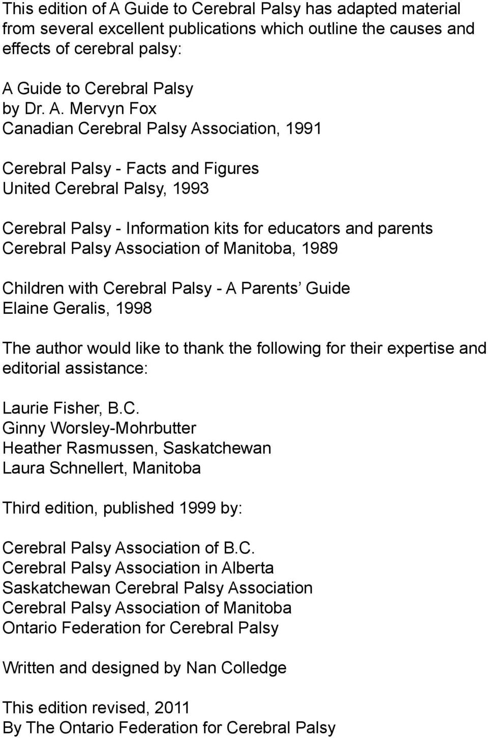 Guide to Cerebral Palsy by Dr. A.