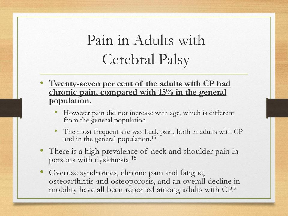 The most frequent site was back pain, both in adults with CP and in the general population.