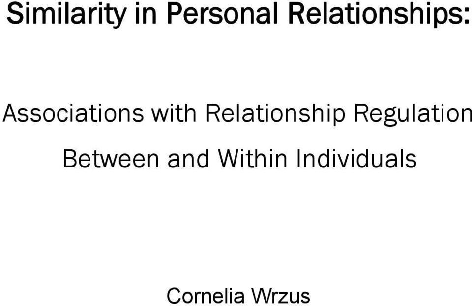 with Relationship Regulation