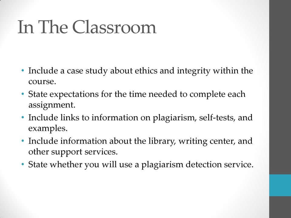 Include links to information on plagiarism, self-tests, and examples.