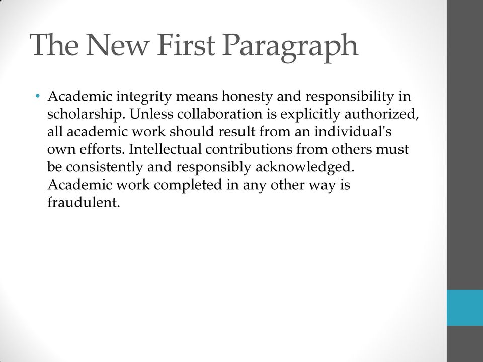 Unless collaboration is explicitly authorized, all academic work should result from an