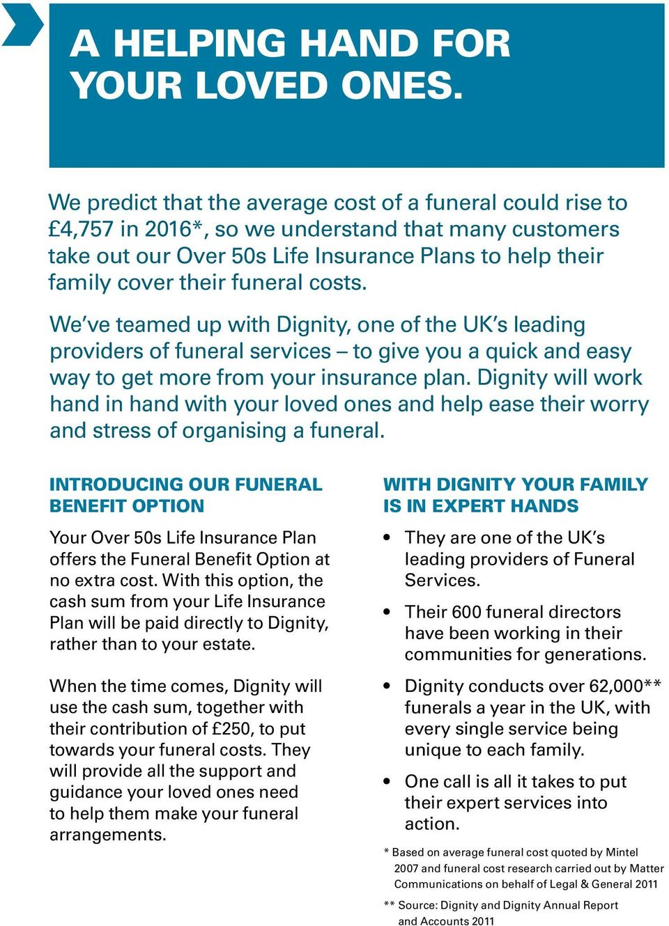costs. We ve teamed up with Dignity, one of the UK s leading providers of funeral services to give you a quick and easy way to get more from your insurance plan.