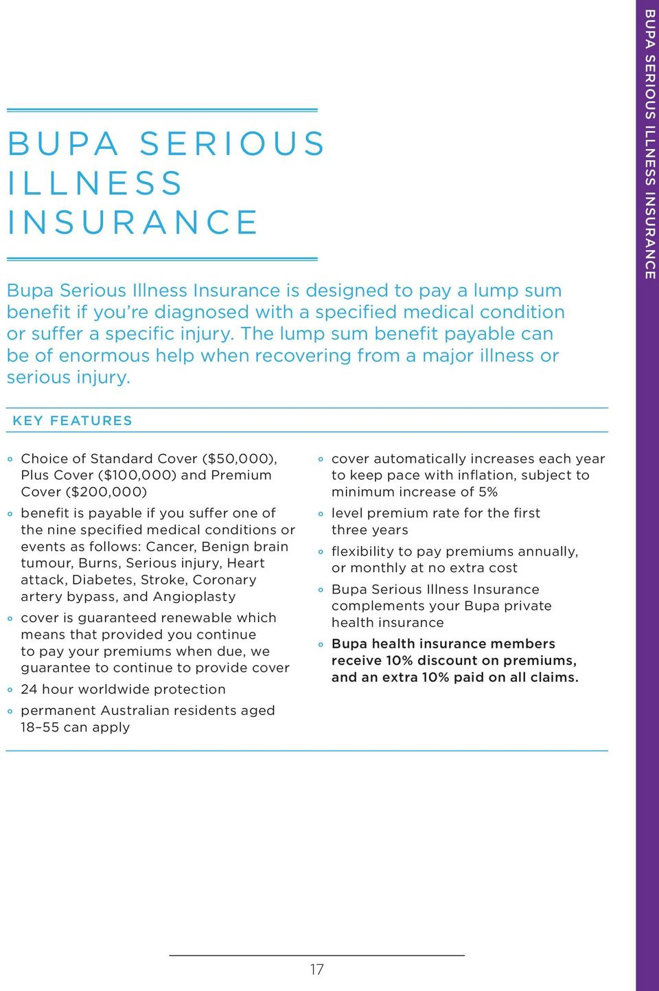 BUPA SERIOUS ILLNESS INSURANCE KEY FEATURES Choice of Standard Cover ($50,000), Plus Cover ($100,000) and Premium Cover ($200,000) benefit is payable if you suffer one of the nine specified medical
