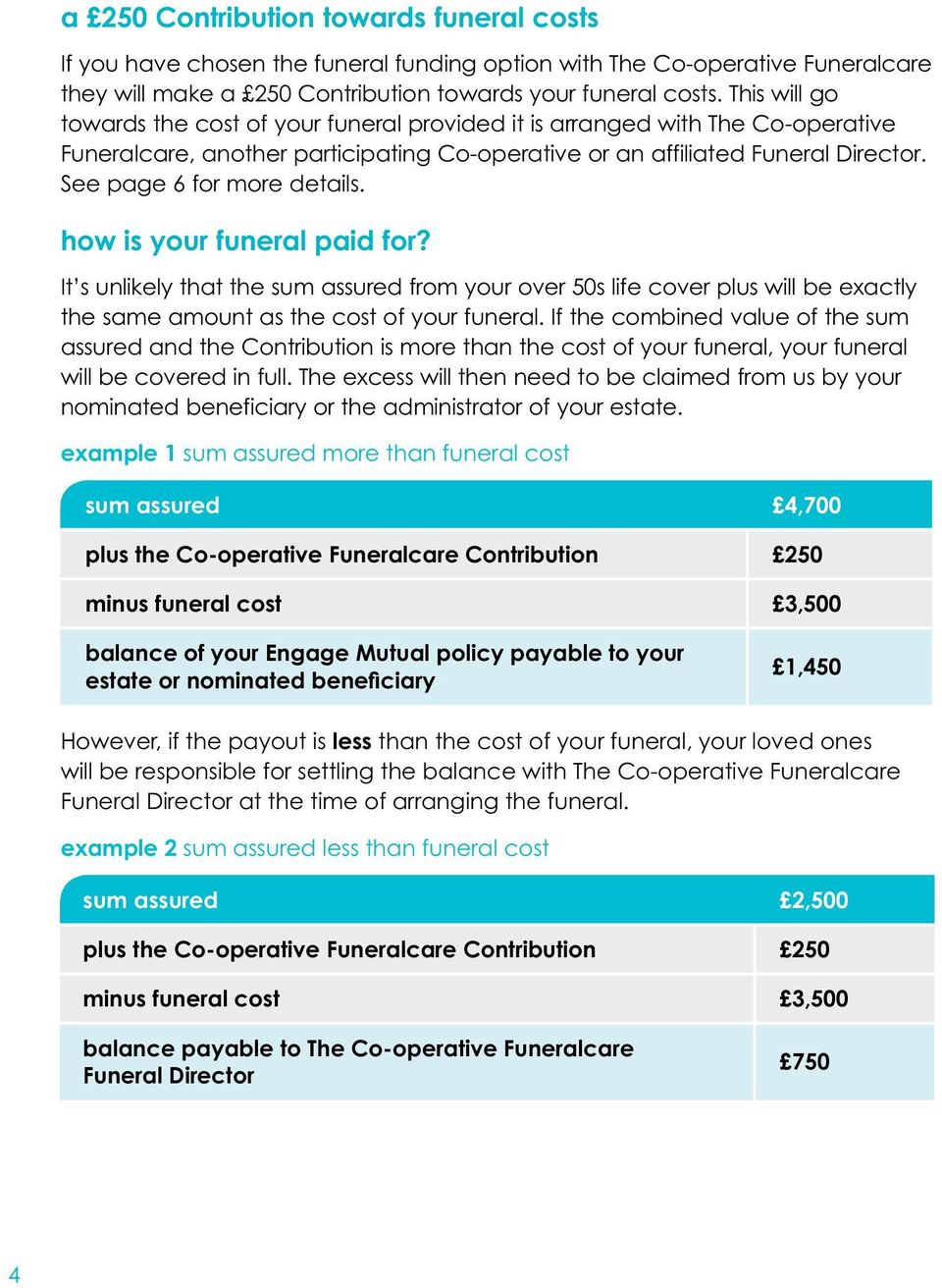 See page 6 for more details. how is your funeral paid for? It s unlikely that the sum assured from your over 50s life cover plus will be exactly the same amount as the cost of your funeral.