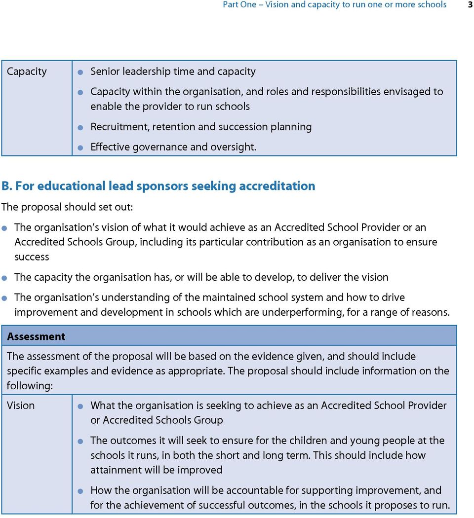 For educational lead sponsors seeking accreditation The proposal should set out: The organisation s vision of what it would achieve as an Accredited School Provider or an Accredited Schools Group,