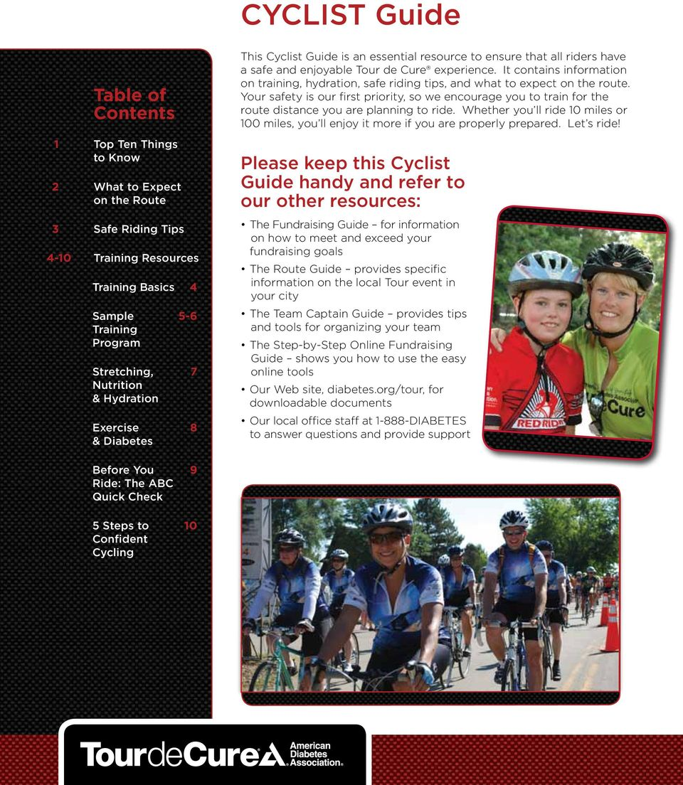 It contains information on training, hydration, safe riding tips, and what to expect on the route.
