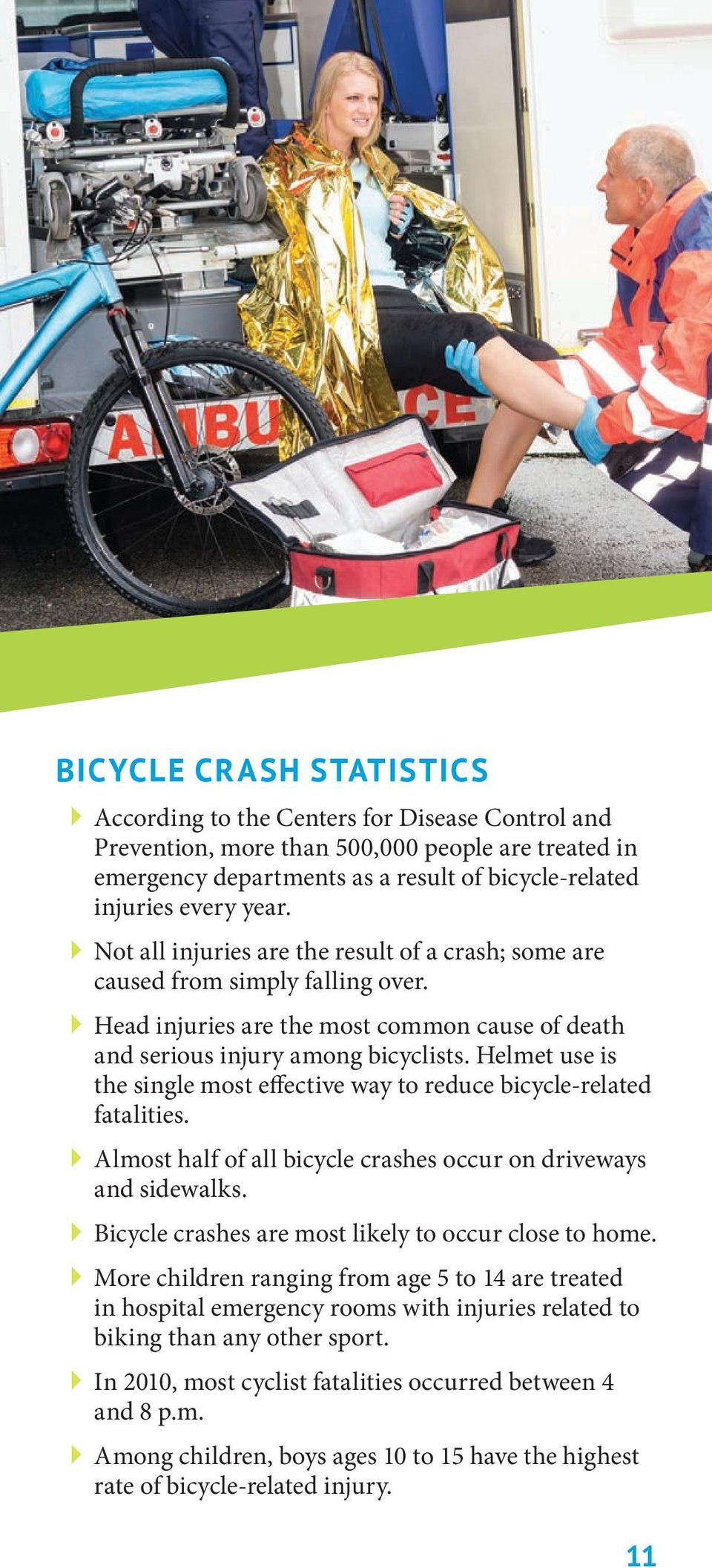 Helmet use is the single most effective way to reduce bicycle-related fatalities. Almost half of all bicycle crashes occur on driveways and sidewalks.