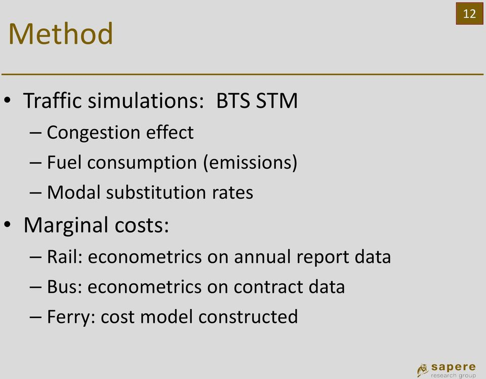 Marginal costs: Rail: econometrics on annual report data