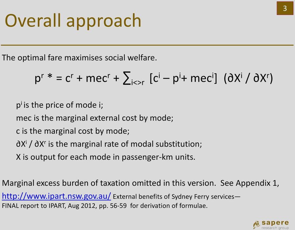 the marginal cost by mode; X i / X r is the marginal rate of modal substitution; X is output for each mode in passenger-km units.