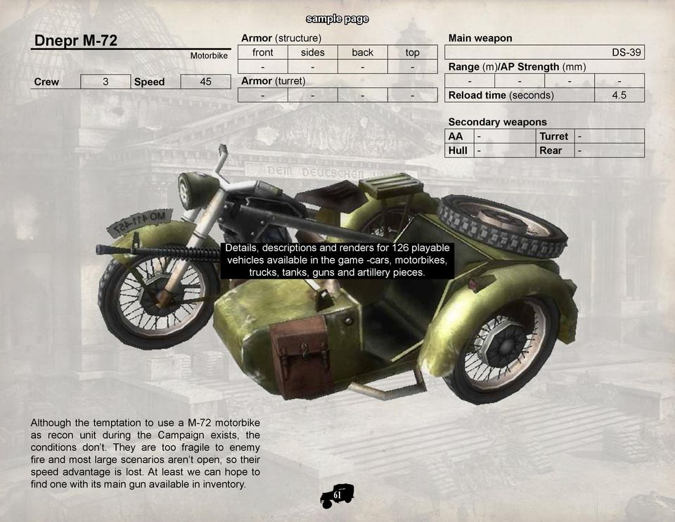 5 Secondary weapons AA - Turret - Hull - Rear - Details, descriptions and renders for 126 playable vehicles available in the game -cars, motorbikes, trucks, tanks, guns