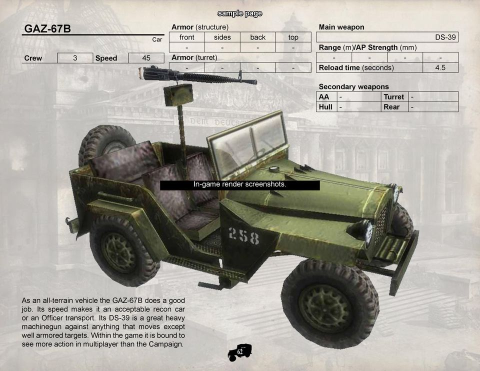 As an all-terrain vehicle the GAZ-67B does a good job. Its speed makes it an acceptable recon car or an Officer transport.