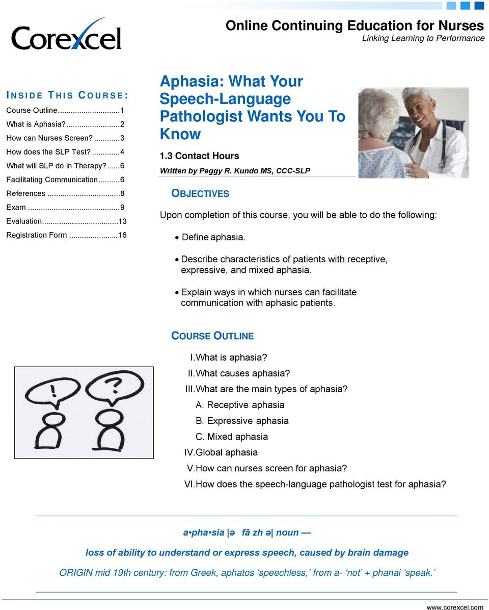 3 Contact Hours Written by Peggy R. Kundo MS, CCC-SLP OBJECTIVES Upon completion of this course, you will be able to do the following: Define aphasia.