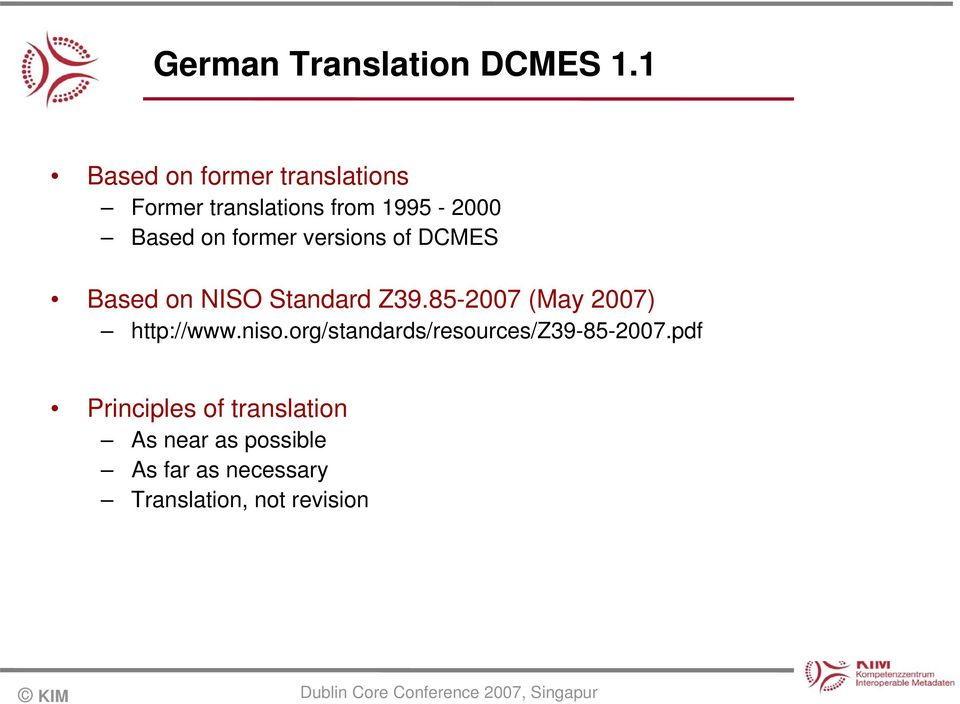 former versions of DCMES Based on NISO Standard Z39.