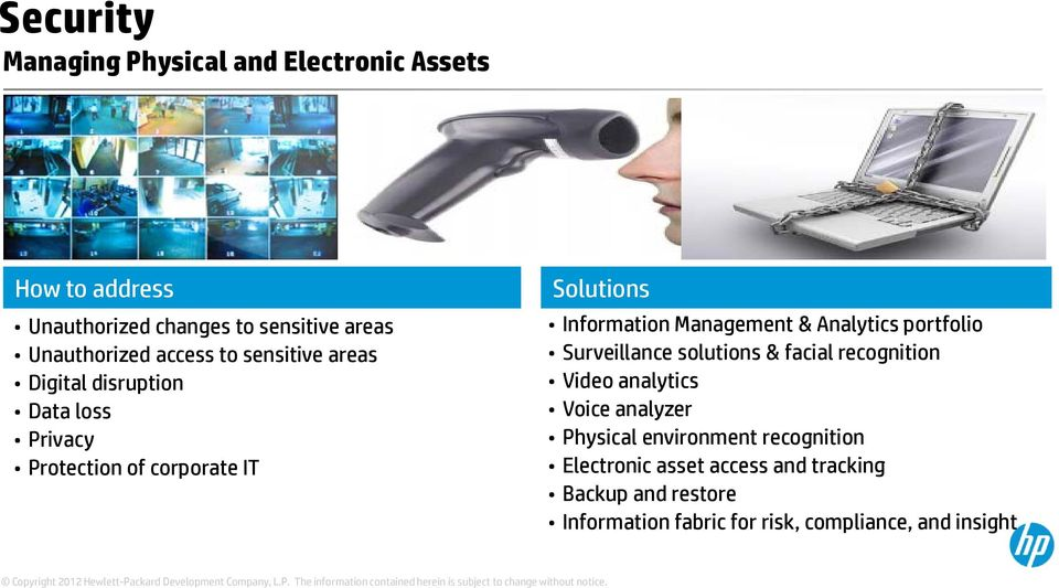 Management & Analytics portfolio Surveillance solutions & facial recognition Video analytics Voice analyzer Physical