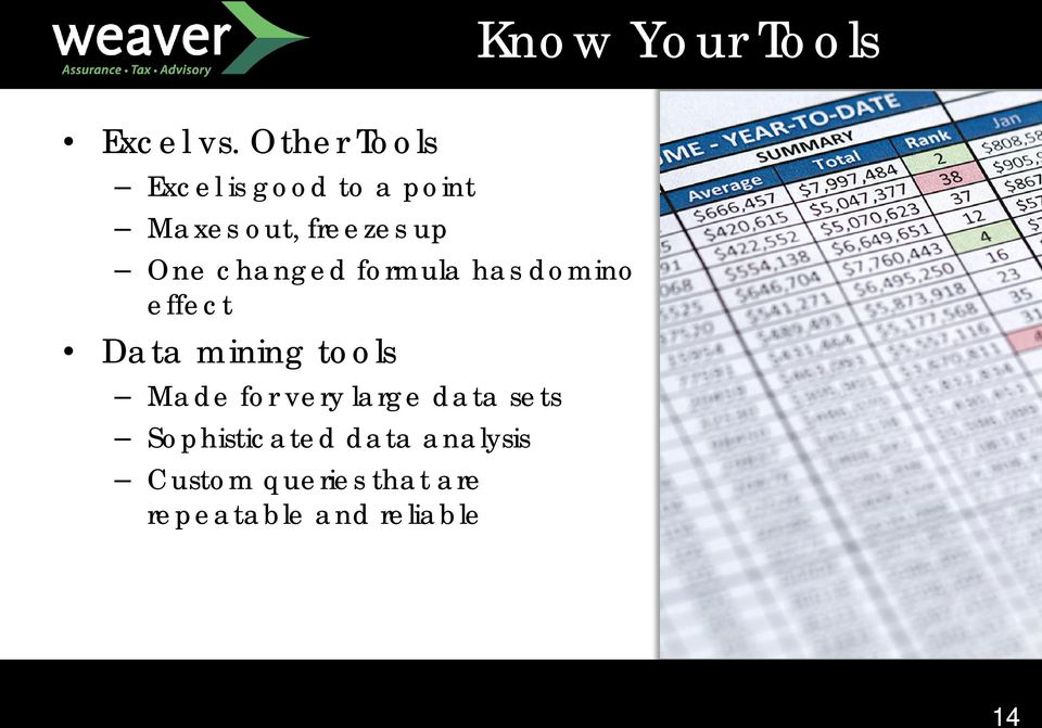 changed formula has domino effect Data mining tools Made for