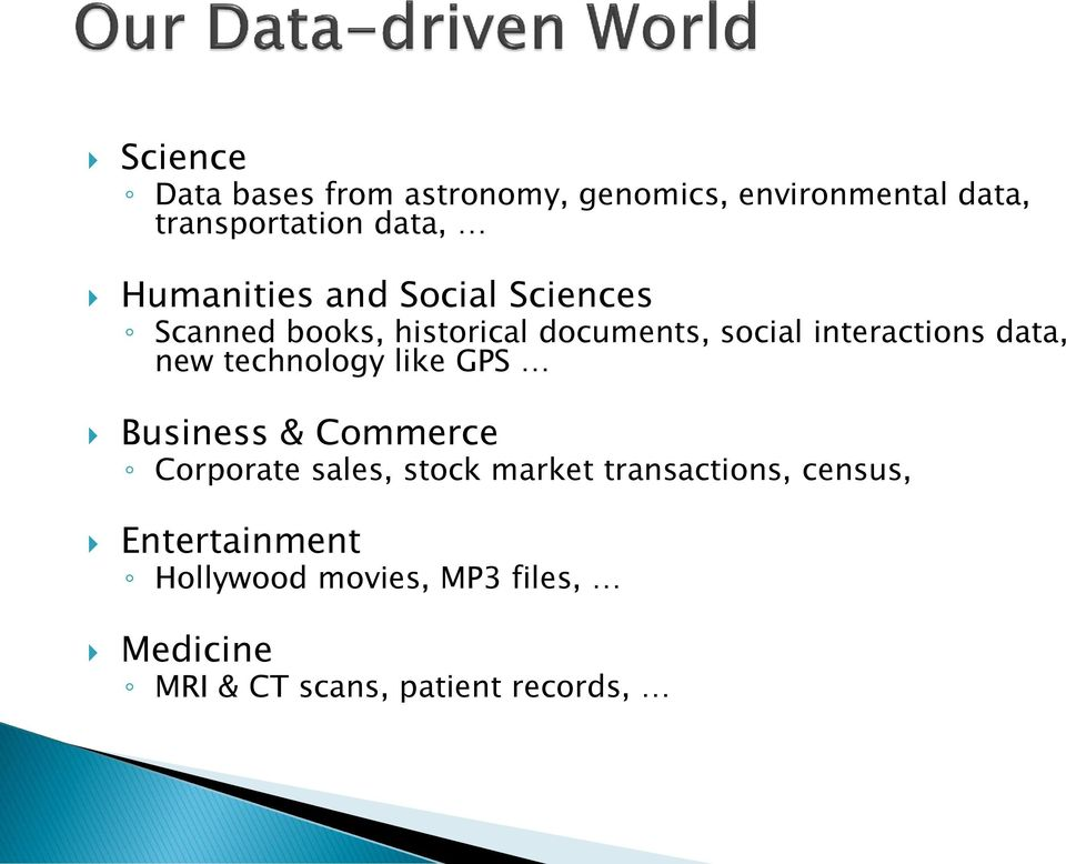 data, new technology like GPS Business & Commerce Corporate sales, stock market