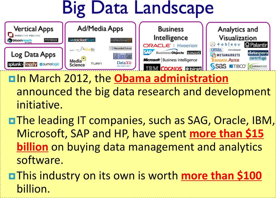 The leading IT companies, such as SAG, Oracle, IBM, Microsoft, SAP and HP, have