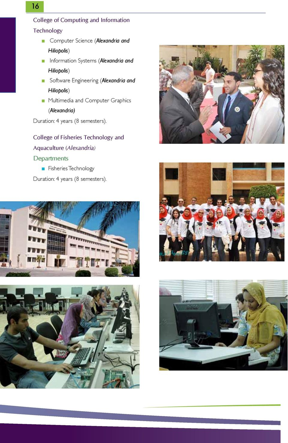 Multimedia and Computer Graphics (Alexandria) Duration: 4 years (8 semesters).