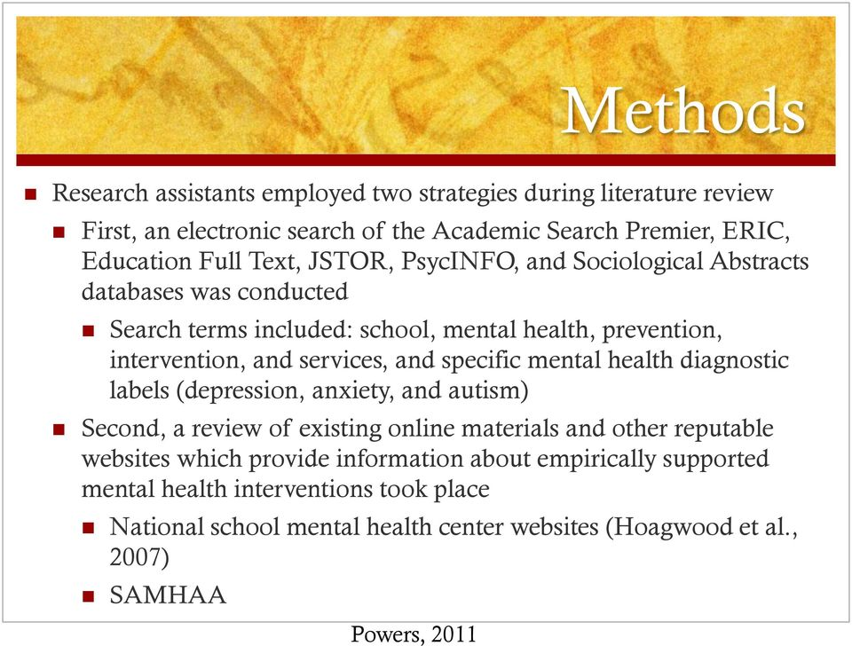 and specific mental health diagnostic labels (depression, anxiety, and autism) Second, a review of existing online materials and other reputable websites which
