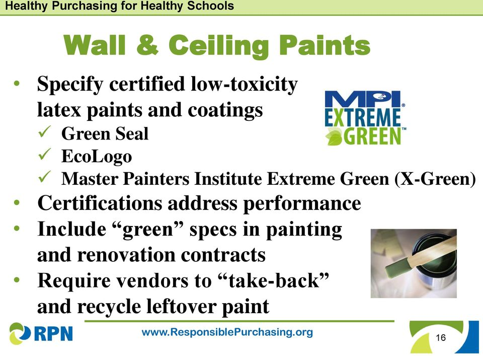 (X-Green) Certifications address performance Include green specs in