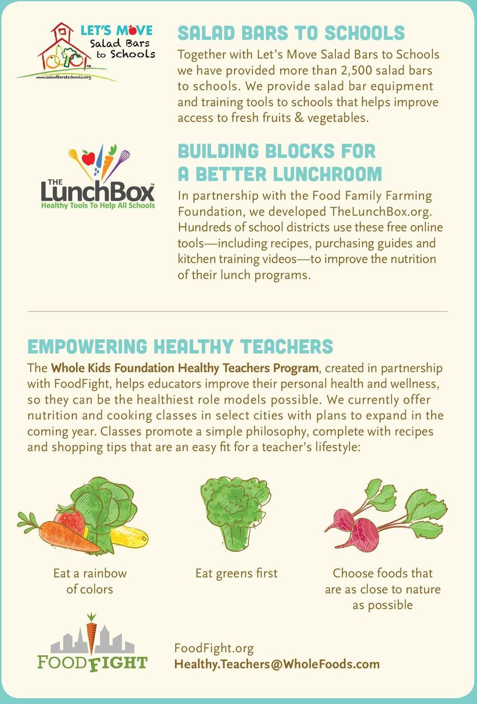 Building Blocks for A Better LunchRoom In partnership with the Food Family Farming Foundation, we developed TheLunchBox.org.