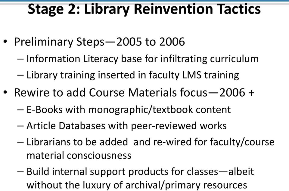 monographic/textbook content Article Databases with peer-reviewed works Librarians to be added and re-wired for
