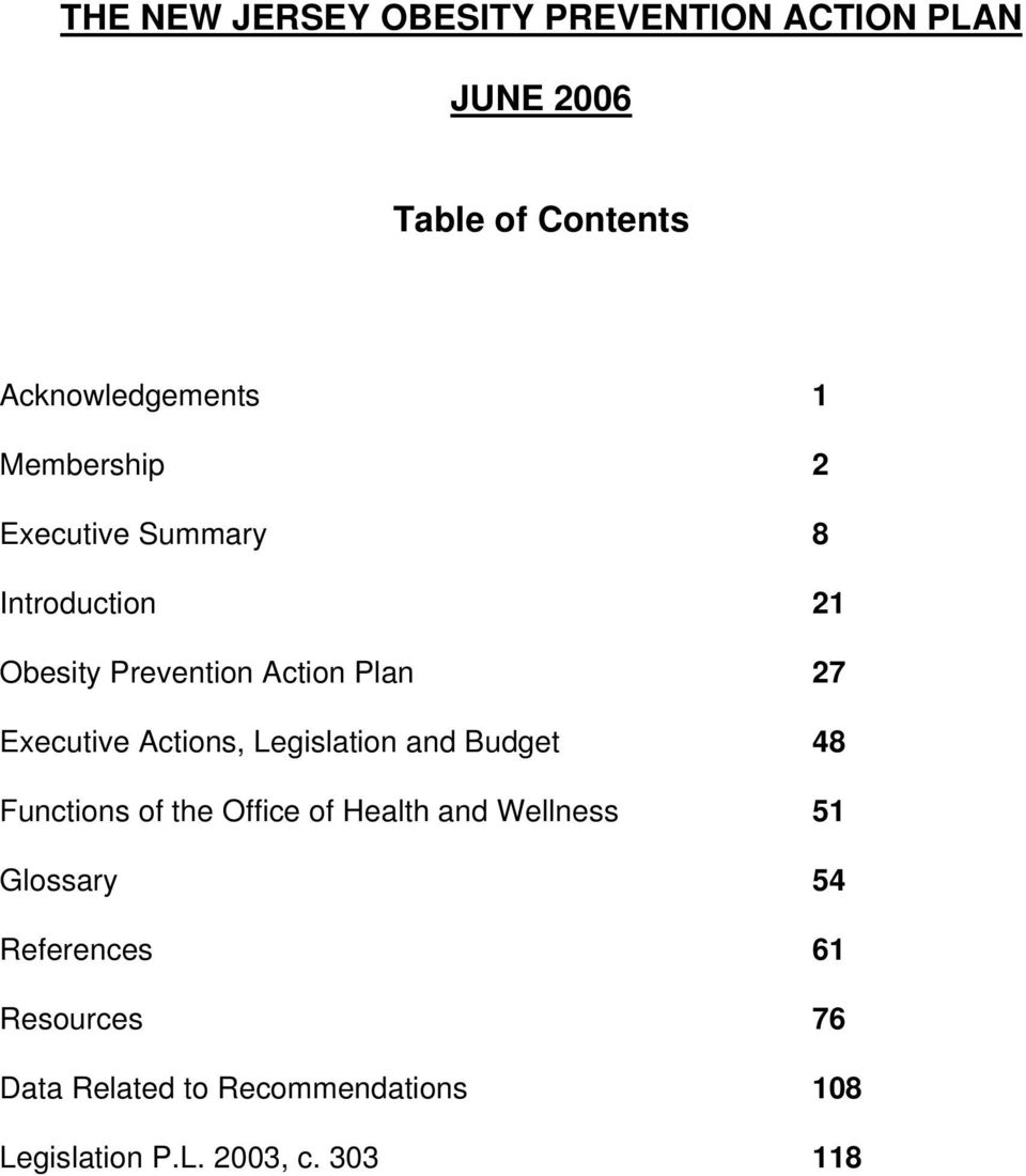 and Budget 48 Functions of the Office of Health and Wellness 51 Glossary 54