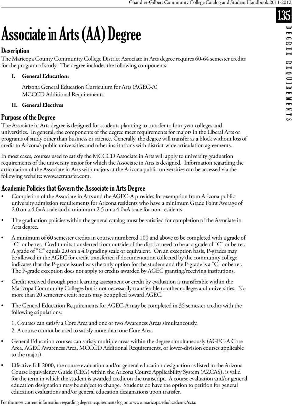 General Education: Arizona General Education Curriculum for Arts (AGEC-A) MCCCD Additional Requirements II.