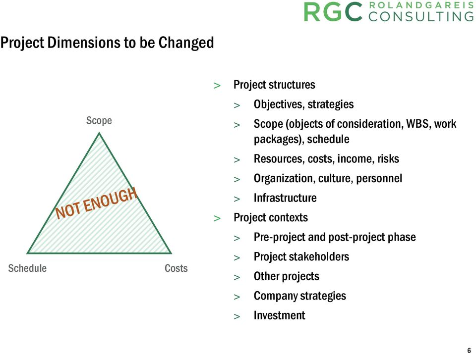 income, risks > Organization, culture, personnel > Infrastructure > Project contexts >