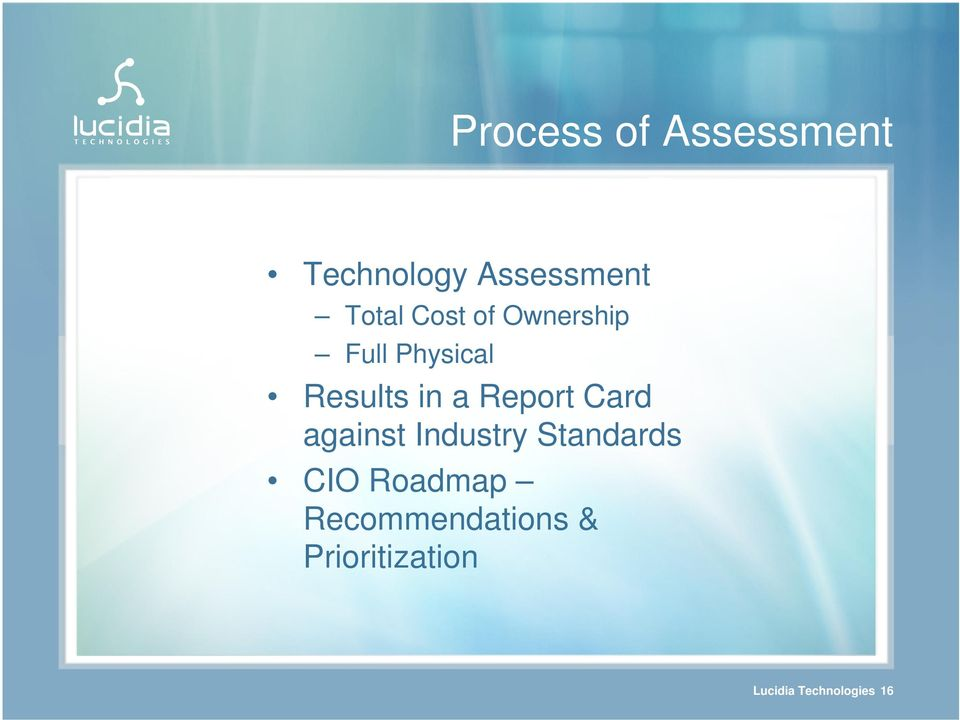 Report Card against Industry Standards CIO Roadmap