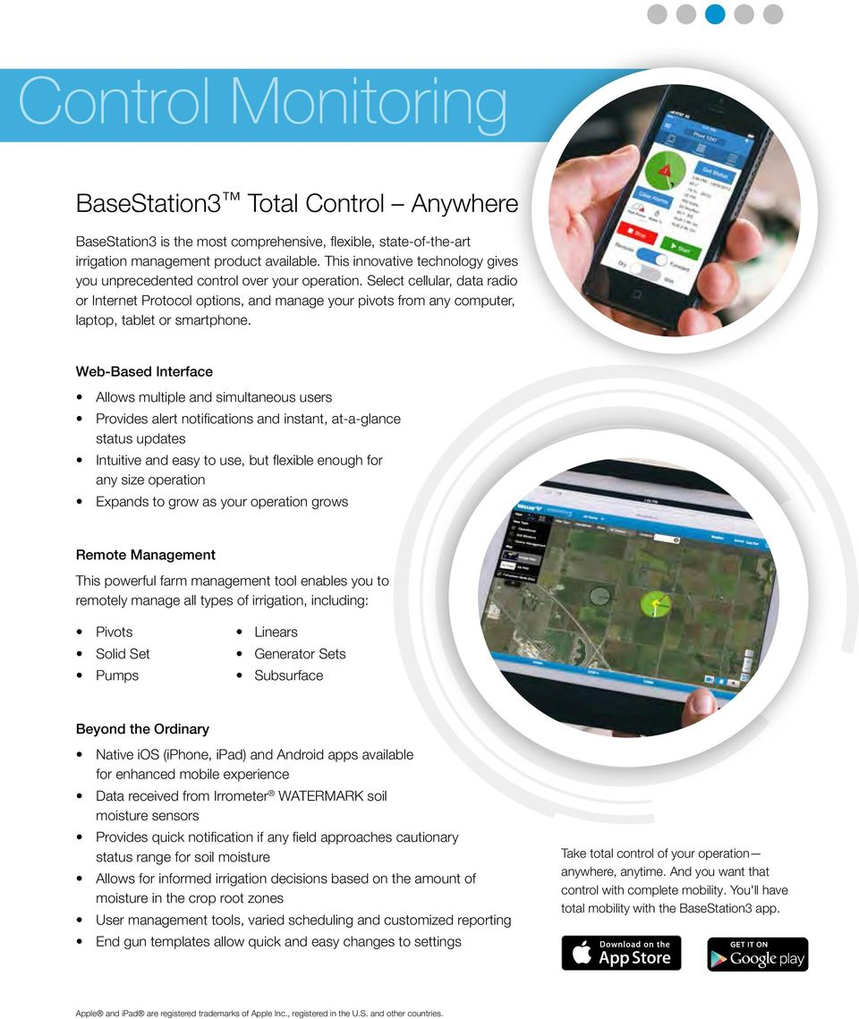 Select cellular, data radio or Internet Protocol options, and manage your pivots from any computer, laptop, tablet or smartphone.