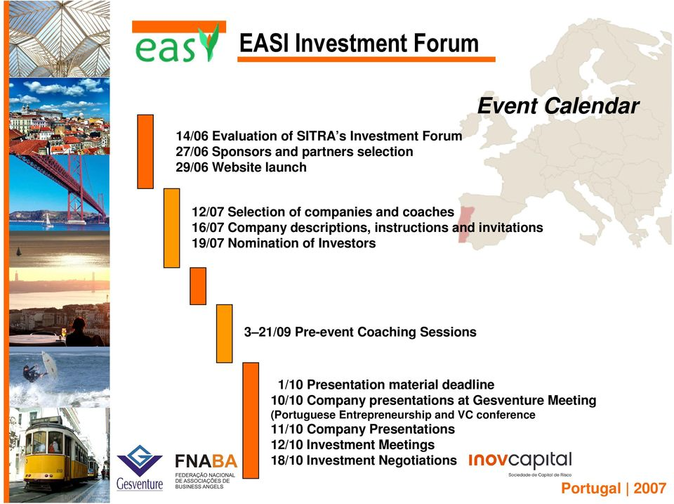 21/09 Pre-event Coaching Sessions 1/10 Presentation material deadline 10/10 Company presentations at Gesventure Meeting