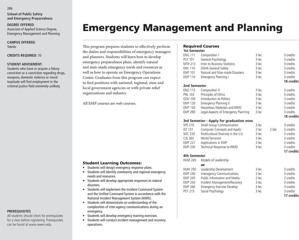 All students should check f prerequisites This program prepares students to effectively perfm the duties and responsibilities of emergency managers and planners.