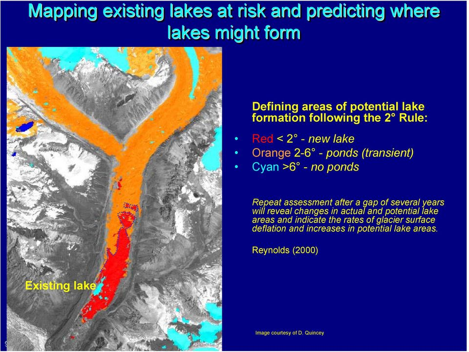 after a gap of several years will reveal changes in actual and potential lake areas and indicate the rates of