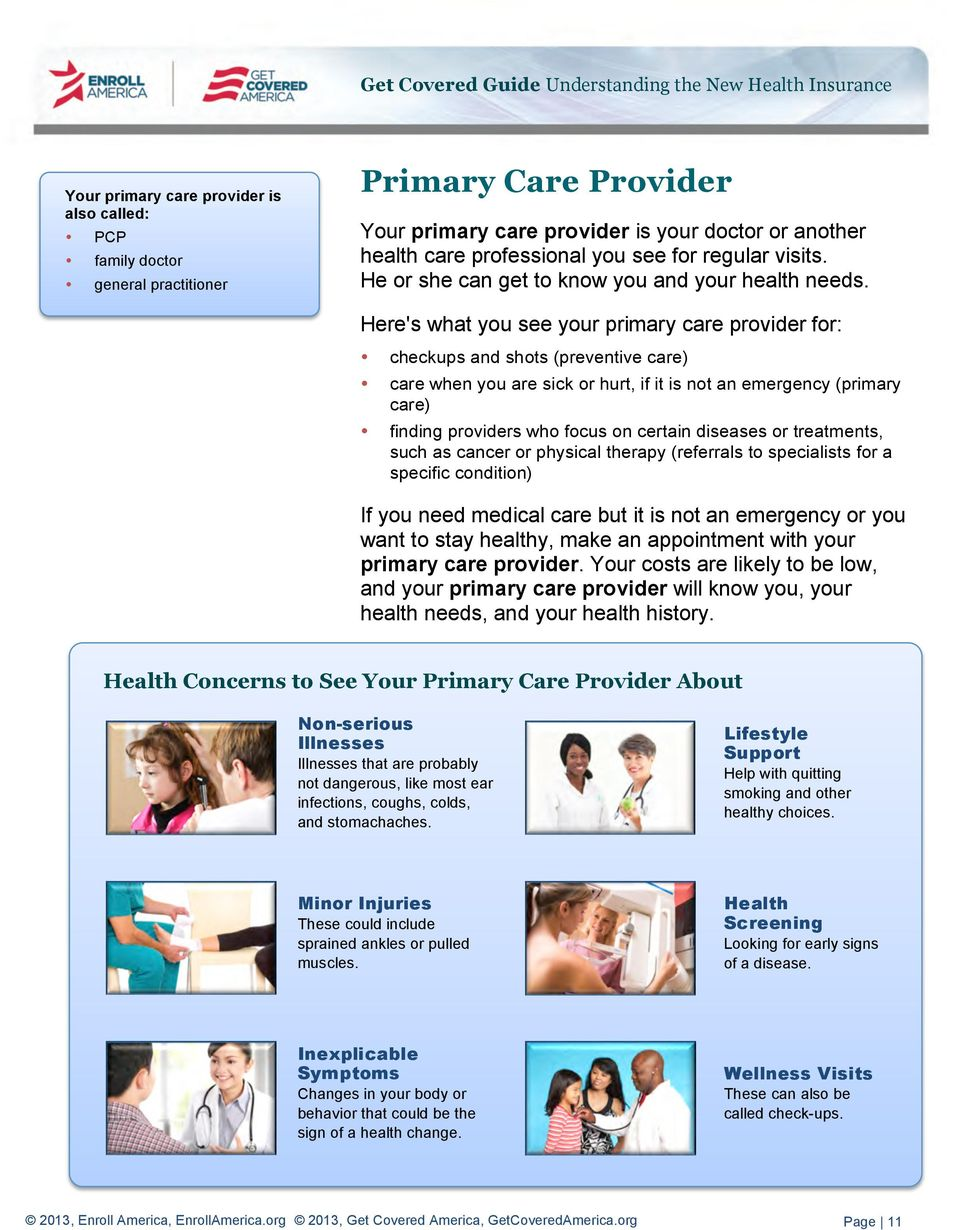 Here's what you see your primary care provider for: checkups and shots (preventive care) care when you are sick or hurt, if it is not an emergency (primary care) finding providers who focus on