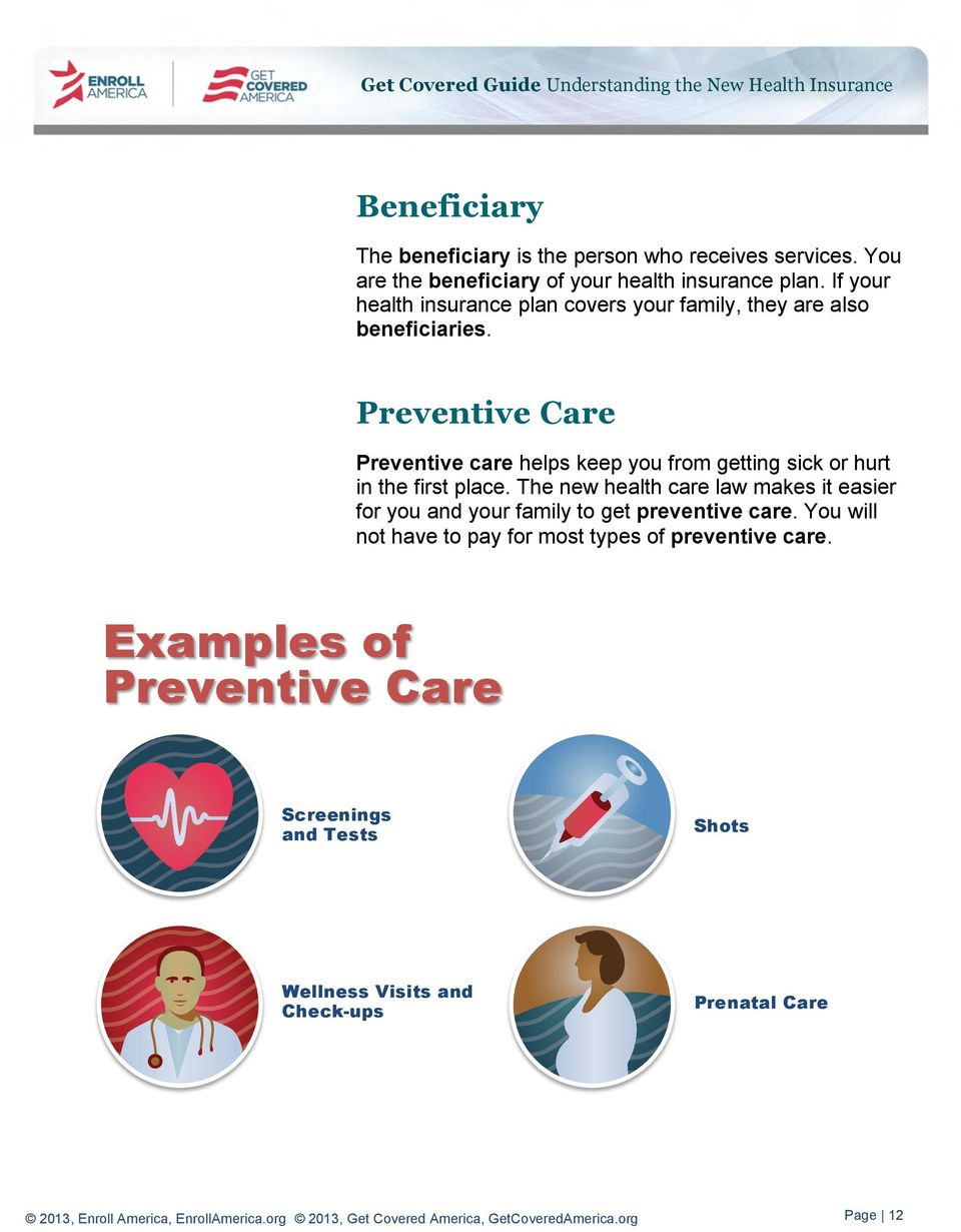 Preventive Care Preventive care helps keep you from getting sick or hurt in the first place.