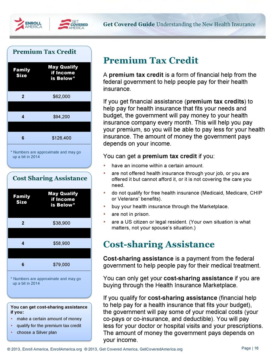 money qualify for the premium tax credit choose a Silver plan Premium Tax Credit A premium tax credit is a form of financial help from the federal government to help people pay for their health