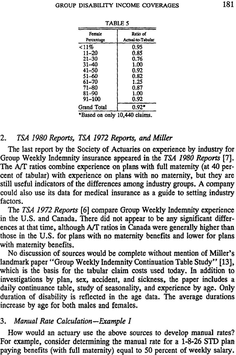 TSA 1980 Reports, TSA 1972 Reports, and Miller The last report by the Society of Actuaries on experience by industry for Group Weekly Indemnity insurance appeared in the TSA 1980 Reports [7].