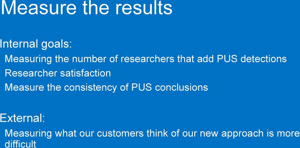 Measure the consistency of PUS conclusions External: