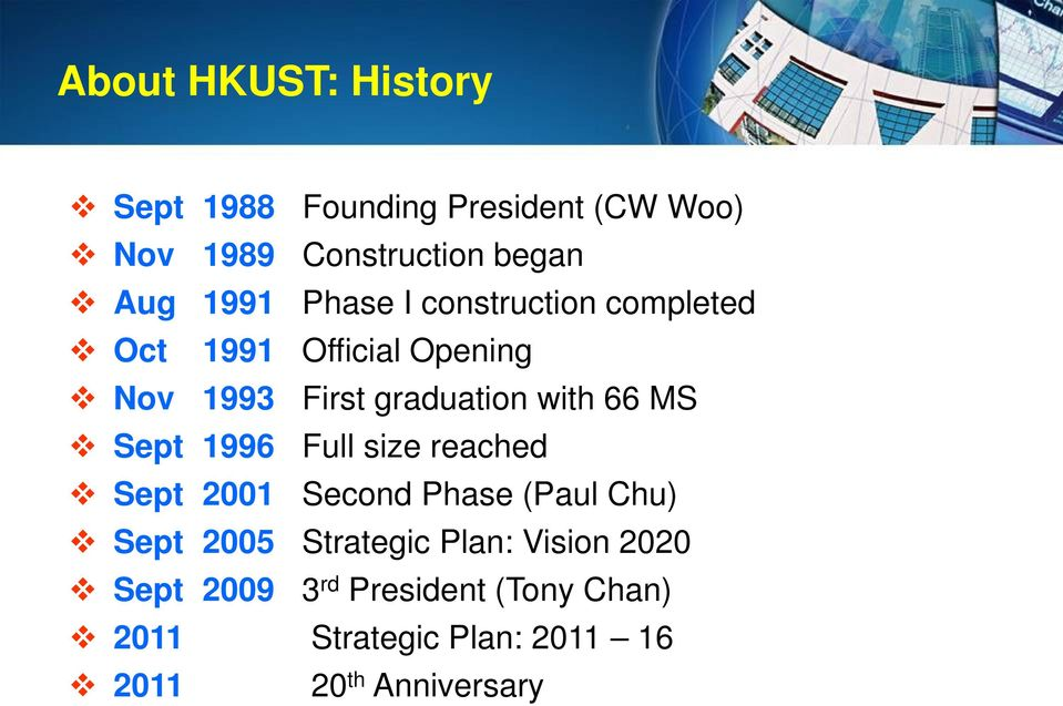 66 MS Sept 1996 Full size reached Sept 2001 Second Phase (Paul Chu) Sept 2005 Strategic Plan: