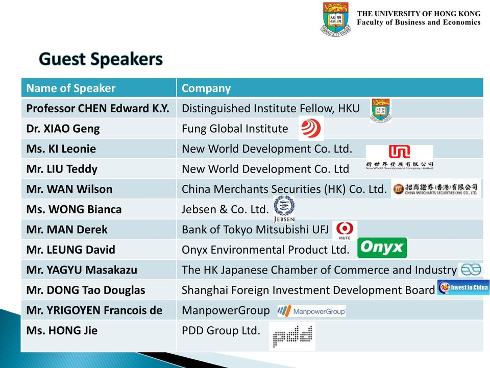 HONG Jie Company Distinguished Institute Fellow, HKU Fung Global Institute New World Development Co. Ltd. New World Development Co. Ltd China Merchants Securities (HK) Co.