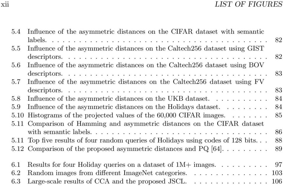 6 Influence of the asymmetric distances on the Caltech256 dataset using BOV descriptors...................................... 83 5.