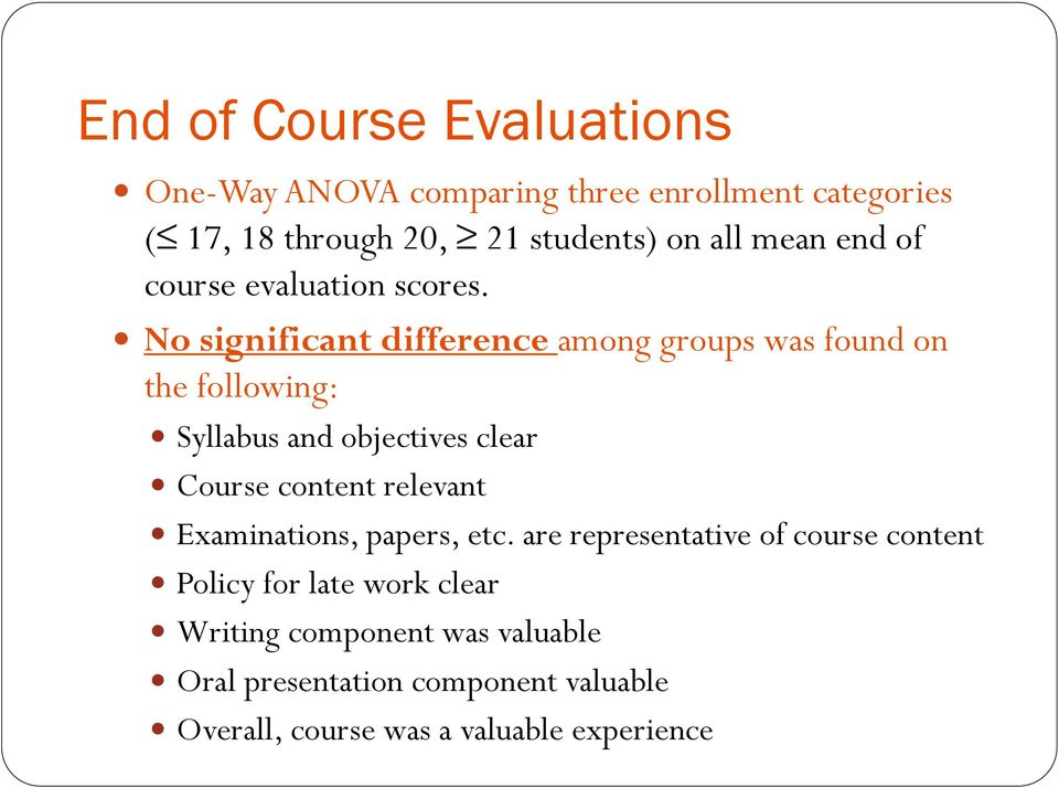 No significant difference among groups was found on the following: Syllabus and objectives clear Course content