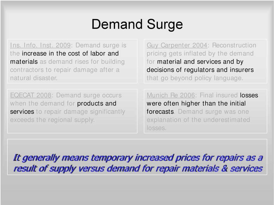 Guy Carpenter 2004: Reconstruction pricing gets inflated by the demand for material and services and by decisions of regulators and insurers that go beyond policy language.